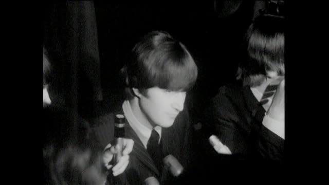 cinder press conference p3 john lennon answers random questions from reporters a psychiatrist in seattle is saying that you are a menace you bring... - ringo starr stock videos and b-roll footage