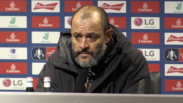 press conference quotes from wolves manager nuno espirito santo following their 1-0 fa cup defeat to manchester united. he says he was pleased with... - var stock-videos und b-roll-filmmaterial