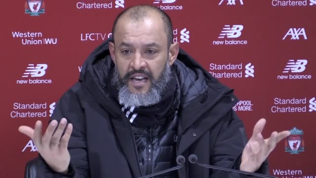 press conference quotes from wolves manager nuno following the 1-0 loss to liverpool. he discusses the way var is implemented after two decisions... - var stock-videos und b-roll-filmmaterial
