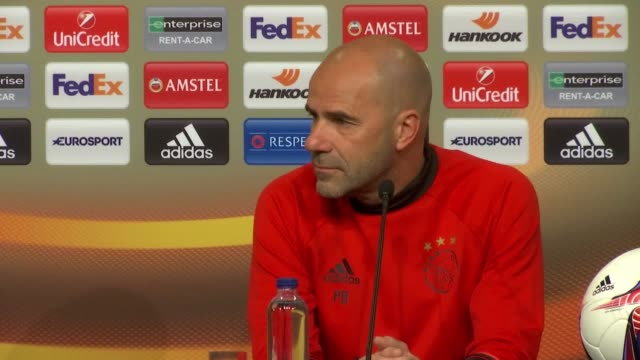 Press conference with Ajax manager Peter Bosz and players Davy Klaassen and Lasse Schöne ahead of the Europa League final against Manchester United...