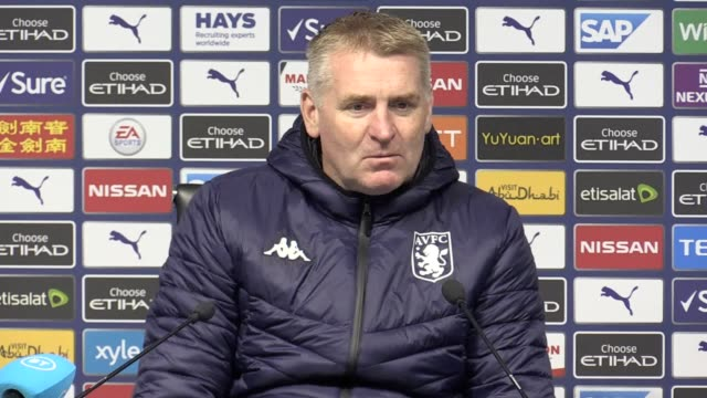 press conference with aston villa manager dean smith after manchester city beat villa 30 at the etihad stadium manchester city shone in the second... - sports period stock videos & royalty-free footage