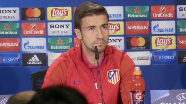 press conference with atletico madrid manager diego simeone before his side's champions league quarterfinal first leg tie against leicester city - first leg stock videos and b-roll footage