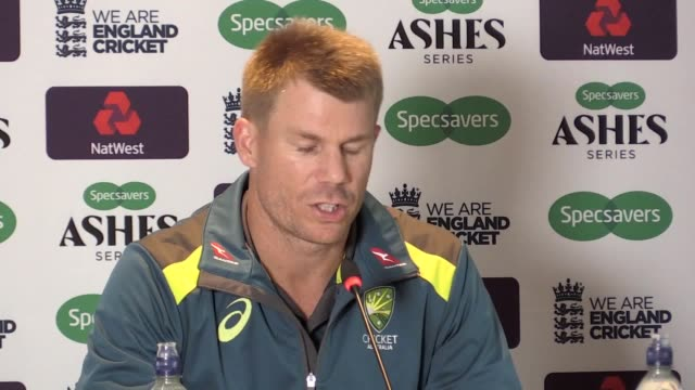 press conference with australia batsman david warner after he scored 61 runs as his side were dismissed for 179 all out. - batsman stock videos & royalty-free footage