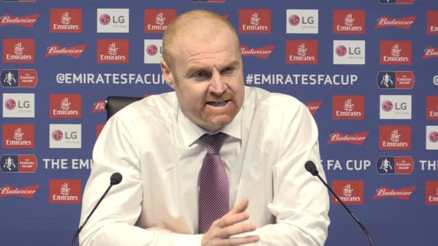 press conference with burnley manager sean dyche following the 50 fa cup loss to manchester city he talks about what positives he can take from the... - game of chance stock videos & royalty-free footage