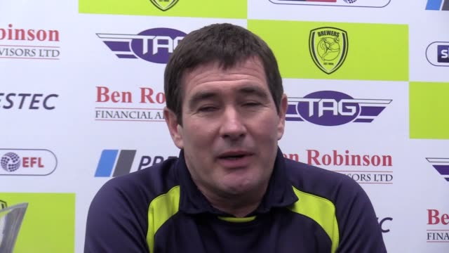 press conference with burton manager nigel clough after his side's 10 loss to man city in the carabao cup second leg - semifinal round stock videos & royalty-free footage