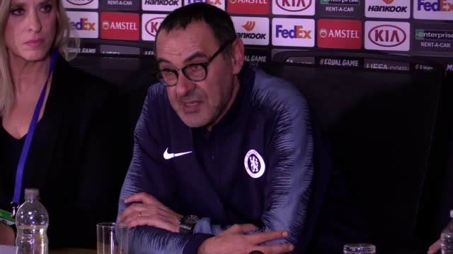 Press conference with Chelsea manager Maurizio Sarri after his side's 30 win over Malmo in the Europa League at Stamford Bridge