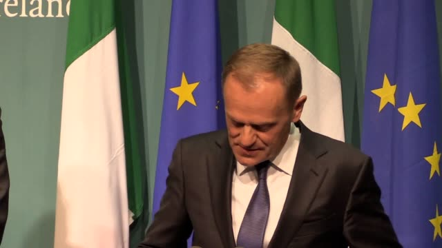 press conference with donald tusk following his meeting with taoiseach leo varadkar following brexit talks at government buildings in dublin - leo varadkar stock videos and b-roll footage