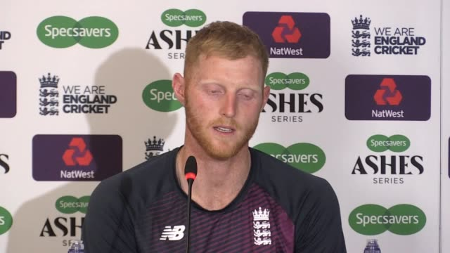 press conference with england all-rounder ben stokes after inspiring his side to a thrilling one-wicket win over australia at headingley. stokes'... - ashes test stock videos & royalty-free footage