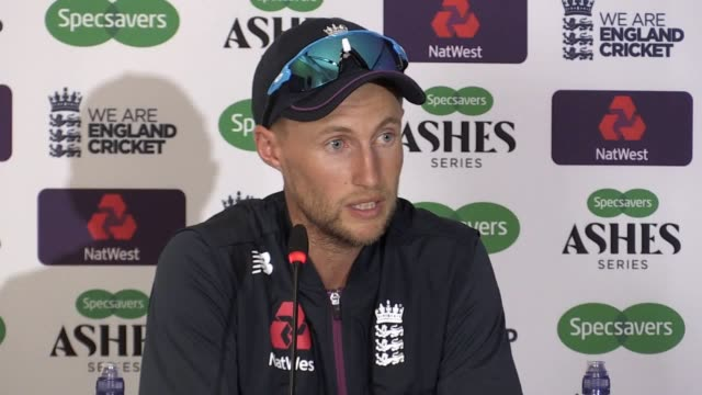 press conference with england captain joe root after his side's thrilling one-wicket win over australia at headingley. ben stokes' 135 not out... - ashes test stock videos & royalty-free footage