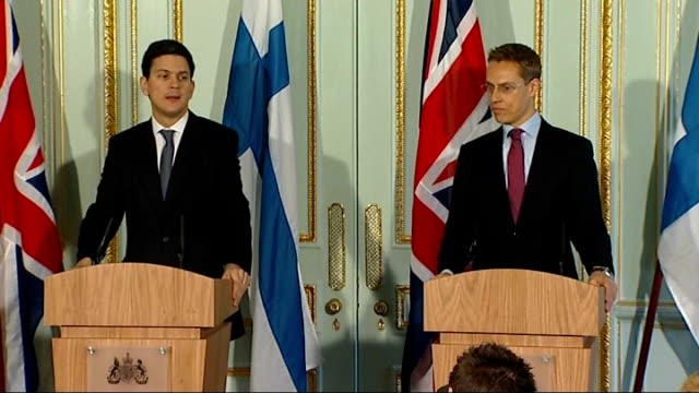 press conference with foreign secretary and finnish foreign minister england london foreign office int david miliband mp and alexander stubb into... - david miliband stock videos & royalty-free footage