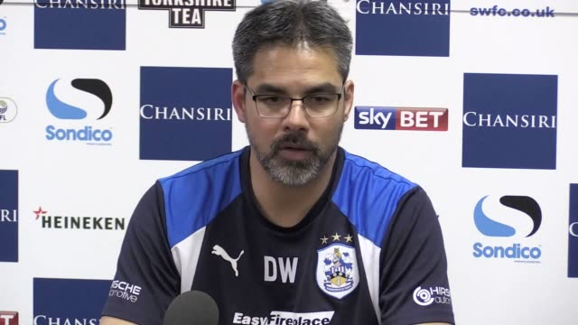 press conference with huddersfield town manager david wagner after they beat sheffield wednesday on penalties to seal their place in the championship... - huddersfield town football club stock videos & royalty-free footage