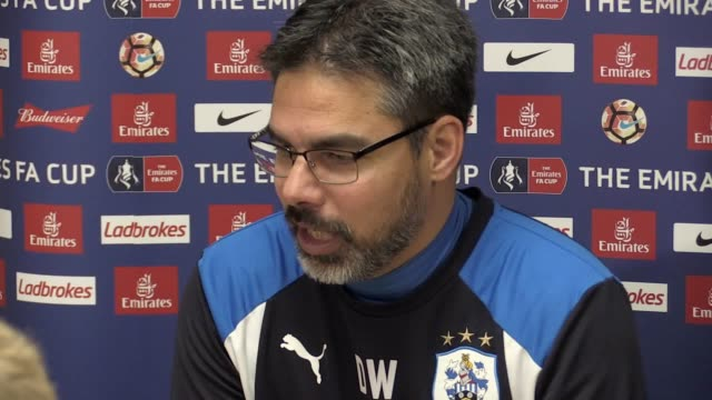 press conference with huddersfield town manager david wagner following the 0-0 draw with man city. he says he was pleased with the result and says... - huddersfield town football club stock videos & royalty-free footage