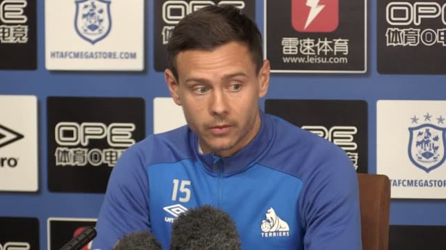 press conference with huddersfield town player chris lowe ahead of the game against everton. - huddersfield town football club stock videos & royalty-free footage
