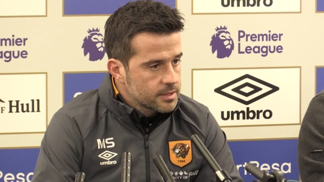 vídeos de stock, filmes e b-roll de press conference with hull city manager marco silva ahead of the game against arsenal he talks about missing out on the signing of yannis salibur... - dawson city