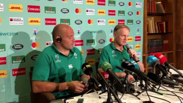 vídeos de stock e filmes b-roll de press conference with ireland head coach joe schmidt and captain rory best ahead of the side's crucial world cup match against samoa defeat against... - samoa