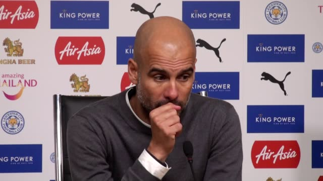 Press conference with Man City manager Pep Guardiola after the victory against Leicester City at The King Power Stadium