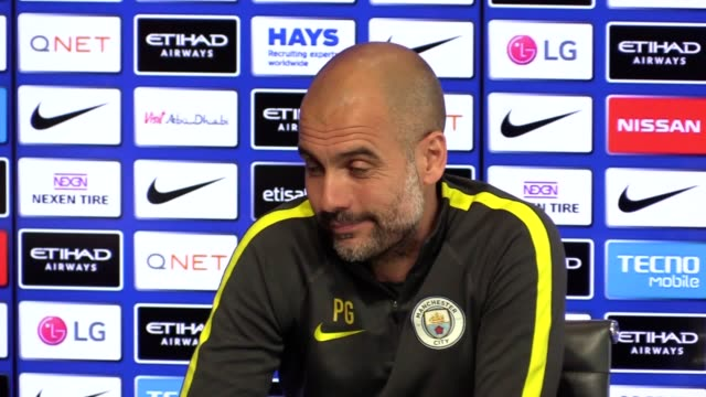 Press conference with Man City manager Pep Guardiola previewing Watford v Man City and reviewing the season