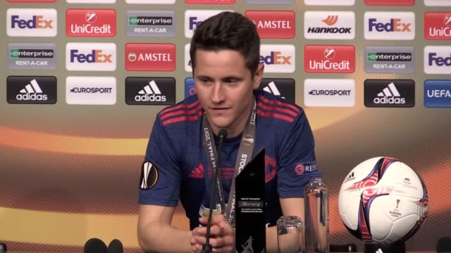 Press conference with man of the match Ander Herrera as Manchester United beat Ajax 20 in the Europa League final in Stockholm He dedicates the award...