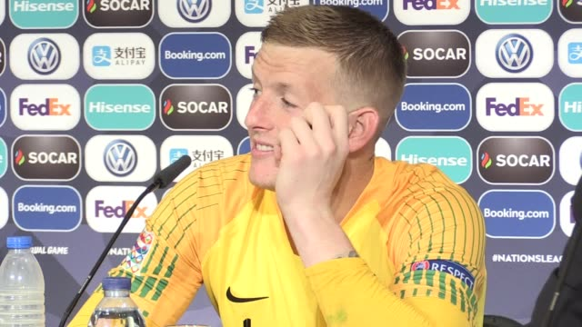 Press conference with Man of the Match England goalkeeper Jordan Pickford after scoring and saving the decisive penalties to help England win the...