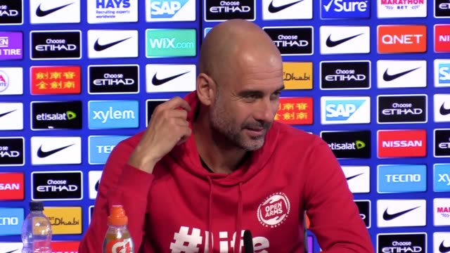 Press conference with Manchester City manager Pep Guardiola ahead of his side's Premier League match against Tottenham who dumped them out of the...