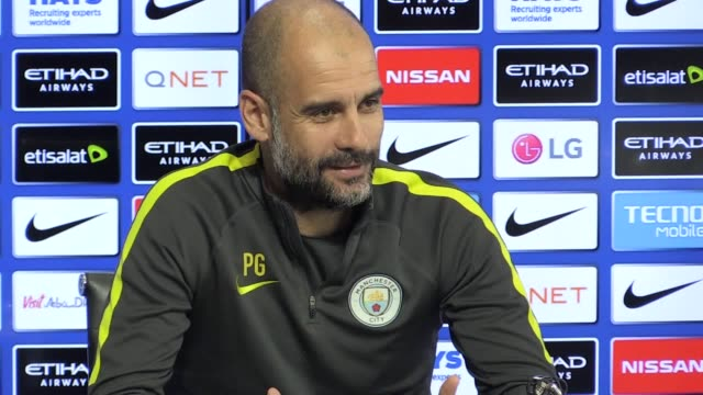 press conference with manchester city manager pep guardiola ahead of the game against stoke city he says there's no chance he'll be hiring philip... - press room stock videos & royalty-free footage