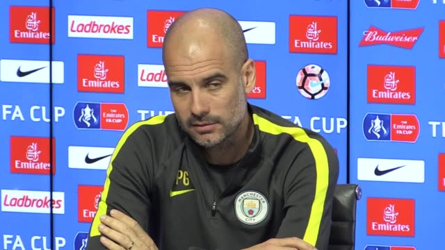 press conference with manchester city manager pep guardiola ahead of the fa cup game away to middlesbrough he talks about why he made sergio aguero... - middlesbrough stock videos and b-roll footage