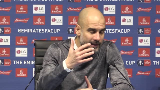 press conference with manchester city manager pep guardiola following the 50 fa cup win over burnley he talks about how tough their next game against... - 後を追う点の映像素材/bロール