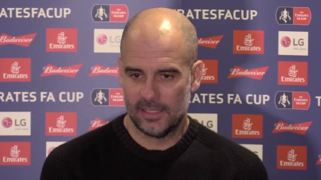 stockvideo's en b-roll-footage met press conference with manchester city manager pep guardiola following their 41 fa cup fifth round victory against newport county at rodney parade - fa cup