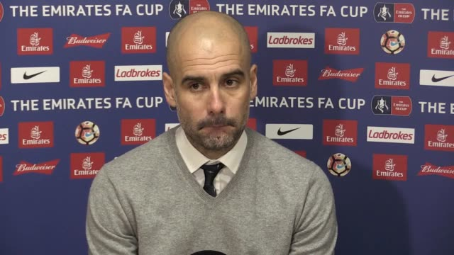 press conference with manchester city manager pep guardiola following the 0-0 fa cup draw against huddersfield town. - huddersfield town football club stock videos & royalty-free footage