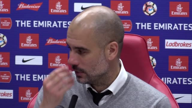 press conference with manchester city manager pep guardiola following victory over middlesbrough in the fa cup - middlesbrough stock videos and b-roll footage
