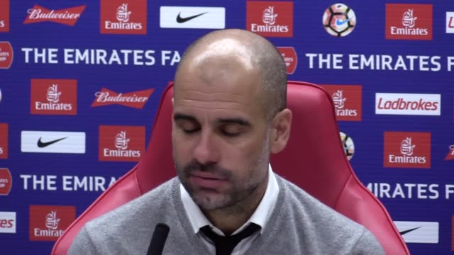press conference with manchester city pep guardiola following victory over middlesbrough in the fa cup - middlesbrough stock videos and b-roll footage