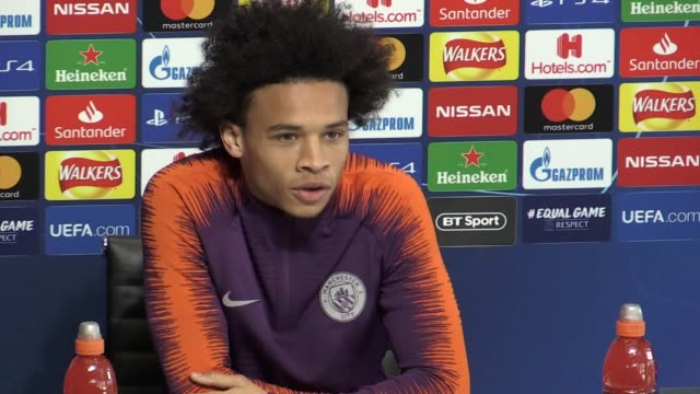 vidéos et rushes de press conference with manchester city winger leroy sane ahead of the champions league match against hoffenheim he talks about the allegedly incident... - turning on or off