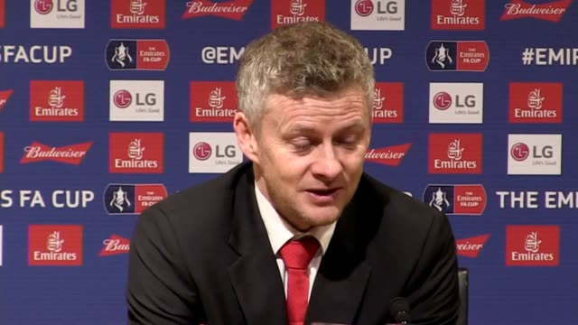 stockvideo's en b-roll-footage met press conference with manchester united interim manager ole gunnar solskjaer following the 2-0 fa cup win over reading he says it was always going to... - var