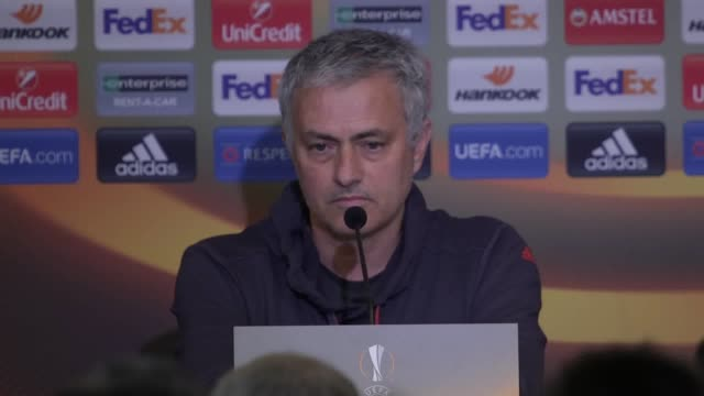 press conference with manchester united manager jose mourinho ahead of his side's quarterfinal first leg tie at anderlecht in the europa league... - first leg stock videos and b-roll footage