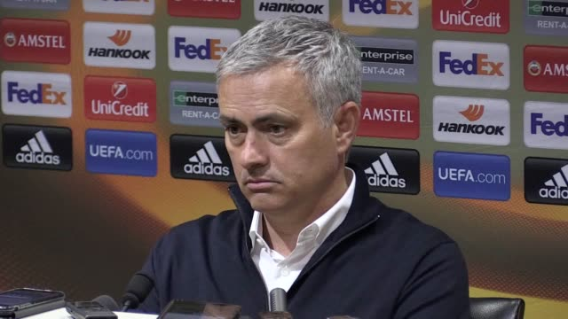 Press conference with Manchester United manager Jose Mourinho following the 21 Europa League quarter final second leg win over Anderlecht He says he...