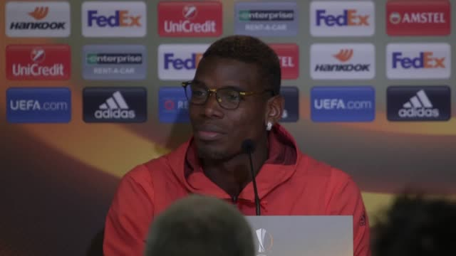 press conference with manchester united midfielder paul pogba ahead of his side's quarterfinal first leg tie at anderlecht in the europa league pogba... - first leg stock videos and b-roll footage