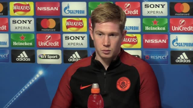press conference with midfielder kevin de bruyne ahead of the team's champions league last16 first leg against monaco on tuesday - first leg stock videos and b-roll footage
