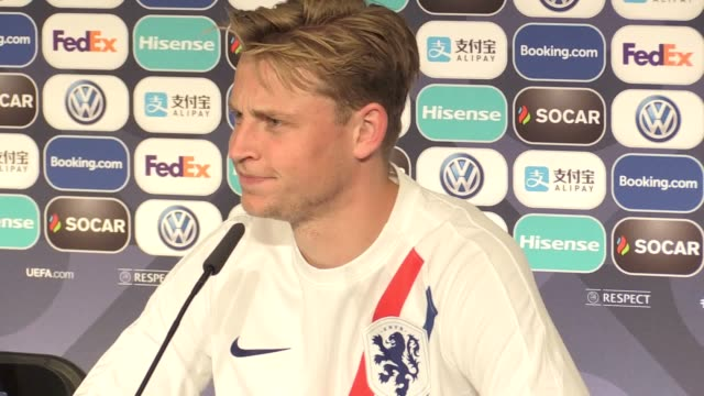 Press conference with Netherlands midfielder Frenkie De Jong after winning Man of the Match in their 31 AET win over England in the semi finals of...
