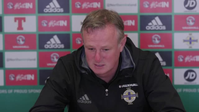 press conference with northern ireland manager michael o'neill ahead of the world cup qualifier away to san marino he talks about the fitness of the... - football association stock videos & royalty-free footage