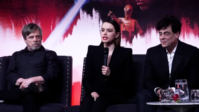 the last jedi director rian johnson and stars mark hamill daisy ridley john boyega oscar isaac and kelly marie tran as episode 8 of the franchise is... - franchising stock videos and b-roll footage