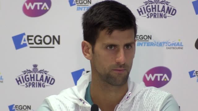 Press conference with tennis player Novak Djokovic following his win against Vasek Pospisil in Eastbourne