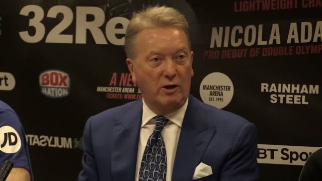 vídeos de stock e filmes b-roll de press conference with wbo lightweight world champion terry flanagan and promoter frank warren following his defence of his title against russian... - lightweight