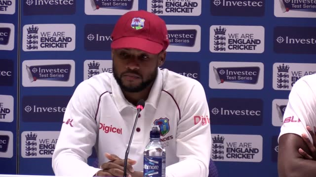 Press conference with West Indies captain Jason Holder and man of the match Shai Hope following their 2nd Test win over England at Headingley Hope...