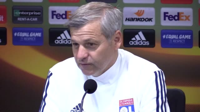 Press conferences with Lyon manager Bruno Génésio and forward Memphis Depay ahead of their Europa League match against Everton at Goodison Park
