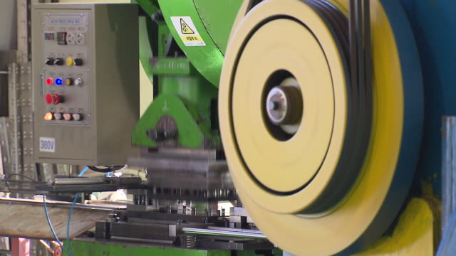 Press machine working and rail in the factory