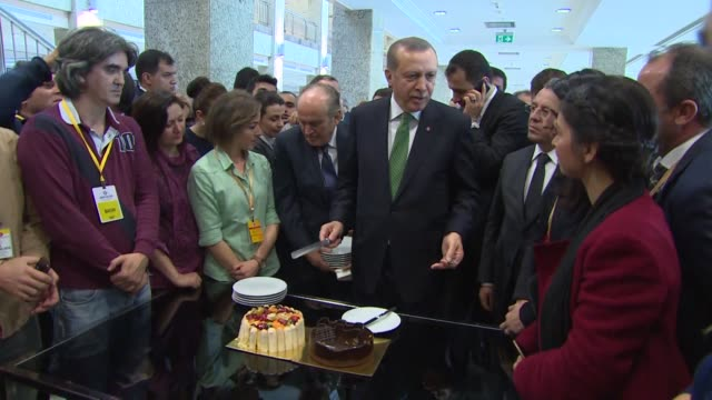 press members celebrate president of turkey recep tayyip erdogan's birthday in istanbul, turkey on february 26, 2016. - birthday cake stock videos & royalty-free footage