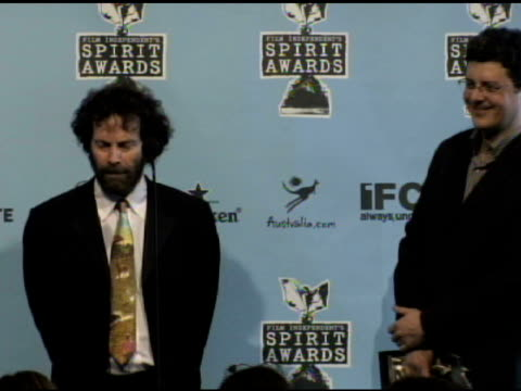 charlie kaufman and anthony bregman at the film independent's 2009 spirit awards press room at los angeles ca. - independent feature project video stock e b–roll