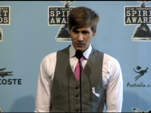 dustin lance black at the film independent's 2009 spirit awards press room at los angeles ca. - independent feature project video stock e b–roll