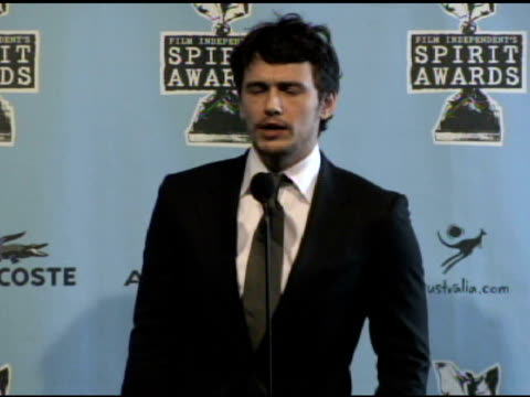 james franco at the film independent's 2009 spirit awards press room at los angeles ca. - independent feature project video stock e b–roll