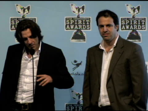 james marsh and simon chinn at the film independent's 2009 spirit awards press room at los angeles ca. - independent feature project video stock e b–roll